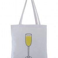 'One Prosecco....' Tote Bag. 100% Cotton. White