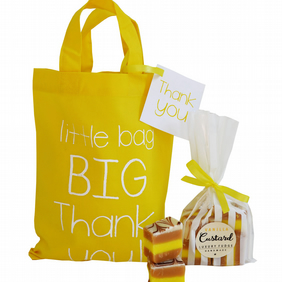 Yellow cotton 'BIG THANK YOU' gift bag & luxury handmade fudge. 3 flavours!