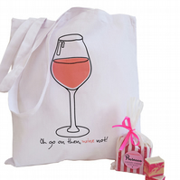 ROSE WINE theme gift set. White cotton tote bag & Pink Prosecco Fudge.