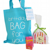 Blue cotton 'BIRTHDAY' gift bag & luxury handmade fudge. Various flavours!