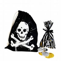 Cotton PIRATE gift or party bag plus luxury chocolate coins. 100% cotton.