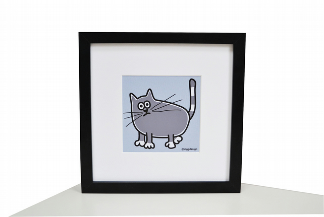 FRAMED Grey Cat art Print. Black Square chunky frame.