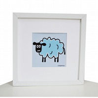 FRAMED SHEEP art Print. White Square chunky frame.