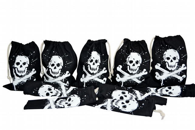 Ahoy!  Pack of 10 PIRATE Drawstring Gift Bags. Cotton. Eco friendly. Black