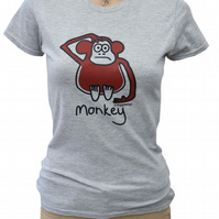 Womens or Teen fitted MONKEY T.shirt Cotton blend . Grey Sizes 6-20