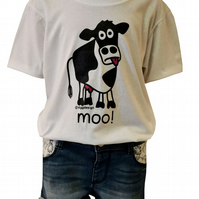 UNISEX moo COW T.shirt 100% Cotton. White. Ages 3-4 upto 9-11y