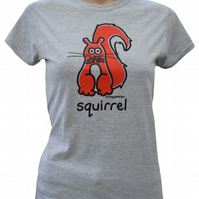 Womens or Teen fitted SQUIRREL T.shirt Cotton blend . Grey Sizes 6-20