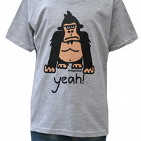 BOYS yeah! Gorilla T.shirt Cotton blend. Heather Grey. Ages 3-4 upto 9-11y.
