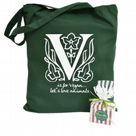 VEGAN theme gift set. Green cotton tote bag & Vegan Vanilla Fudge.