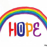 Digital download. A4 size. 'HOPE rainbow'. Print at home.