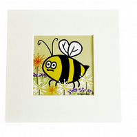 Digital download. 'Buzzy Bee' small art print. Print at home.