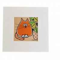 Digital download. 'Ginger Cat' small art print. Print at home.