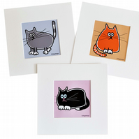 Digital download. Set of 3 'Little Cats' small art prints. Print at home.