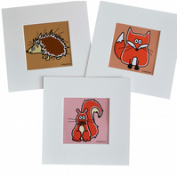 Digital download. Set of 3 'Woodland animals' small art prints. Print at home