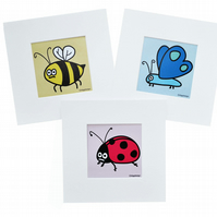 Digital download. Set of 3 'Pretty insects' small art prints. Print at home
