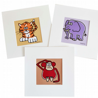 Digital download. Set of 3 'Jungle animals' small art prints. Print at home