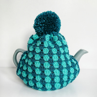 Crochet Tea Cosy with PomPom (for small teapot) - Blue
