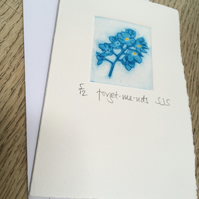 Forget-me-not card, hand printed forget-me-not card, handmade forget-me-not card