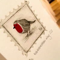 Robin card, handprinted Christmas card, handmade robin card