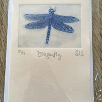 dragonfly card, hand printed dragonfly card, handmade dragonfly card, dragonfly