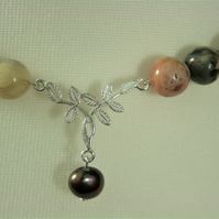 Agate and Sterling Silver 18inch Necklace