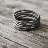 Set of Six Textured Sterling Silver Stacking Rings