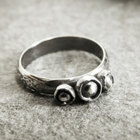 Organic Silver Ring, Blackened Silver Ring, Artisan Ring