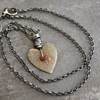 Antique Heart Necklace with Garnet and Sterling Silver