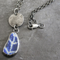 Beach Pottery Necklace with Sterling Silver Disk