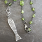 Sterling Silver Fish necklace with Peridot bead Chain