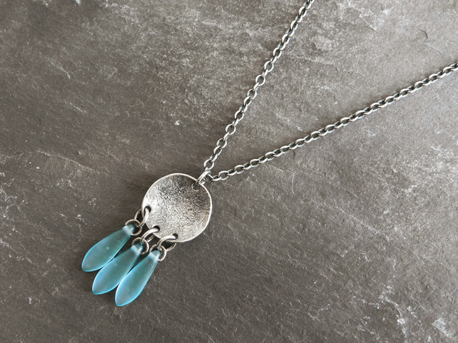 Raw Sterling Silver Necklace with Blue Glass Drops