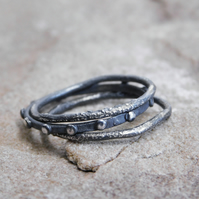 Stacking Ring Set in Rustic Blackened Sterling Silver