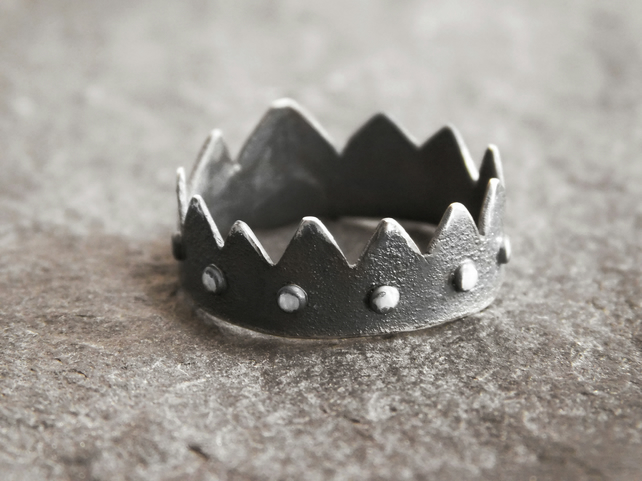 Crown Ring in Textured and Blackened Sterling Silver