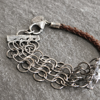 Chain Mail Bracelet in Leather and Sterling Silver