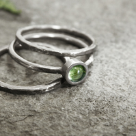 Rustic Peridot Stacking Ring Set in Sterling Silver