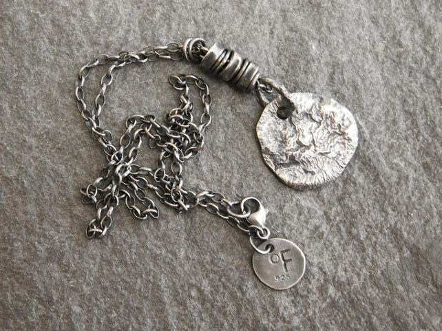 Raw Sterling Silver Disk Necklace - Unisex