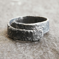 Rugged Textured Men's Ring in Blackened Sterling Silver