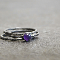 Amethyst Three Ring Stacking Set