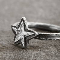 Star Ring in Blackened Sterling and Fine Silver - Men's Ring - Unisex Ring