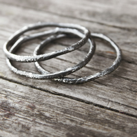 Set of Three Rustic Stacking Rings in Blackened or Bright Sterling Silver