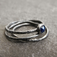 Sapphire Stacking Ring Set in Blackened and Textured Sterling Silver