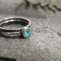 Raw Apatite and Blackened Sterling Silver Stacking Ring Set