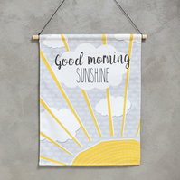 Nursery wall art - fabric wall hanging - nursery decor - good morning sunshine