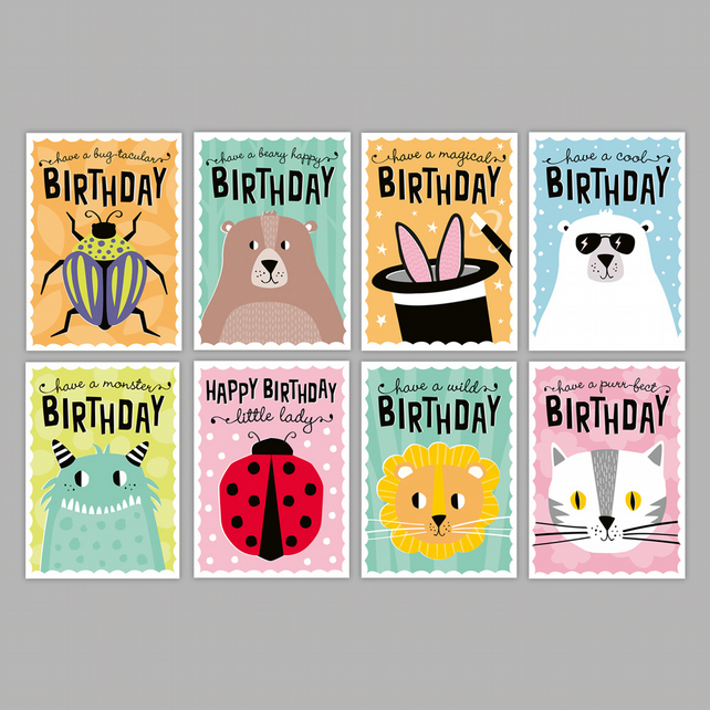 Kids birthday card 8-pack - kids party cards - children's birthday multipack