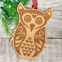 Scandinavian Christmas Tree Decoration - owl ornament - wood decoration