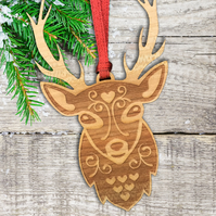 Scandinavian Christmas Tree Decoration - deer ornament - wood decoration