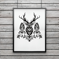 Scandinavian wall art - screen print - folk art print - deer print - ltd edition