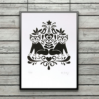 Scandinavian wall art - screen print - folk art print - fox print - ltd edition