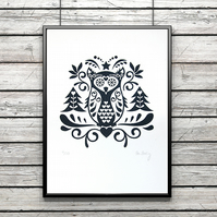 Scandinavian wall art - screen print - folk art print - owl print - ltd edition