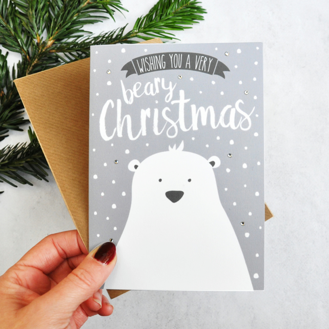 Christmas card - polar bear card  - Scandinavian Christmas - illustrated card